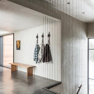На фото: узкая прихожая среднего размера в стиле модернизм с серыми стенами и бетонным полом с