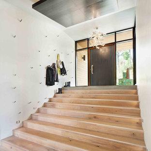Foto di un grande corridoio minimal con pareti bianche, parquet chiaro, una porta singola e una porta marrone