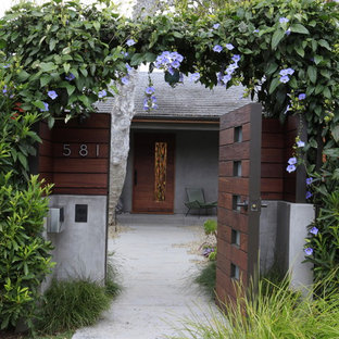 This is an example of a modern entrance in Los Angeles with a single front door and a dark wood front door.