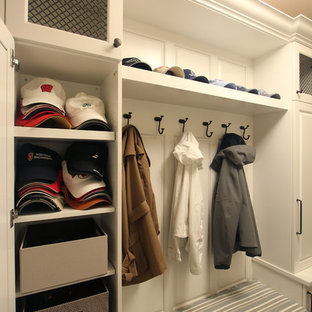 Mudroom Built-Ins in White Cabinets with Wire Mesh Inserts