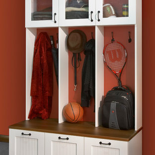 Mid-sized transitional mudroom photo in Indianapolis with a white front door