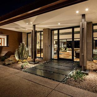 Modelo de puerta principal de estilo americano con paredes grises, puerta simple, puerta de vidrio y suelo negro