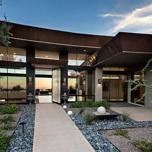 フェニックスの大きい回転式ドアコンテンポラリースタイルのおしゃれな玄関ドア (マルチカラーの壁、ライムストーンの床、ガラスドア、白い床) の写真