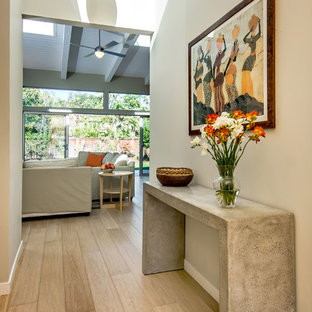Nelson Cigar Pendant Light in Entry of Palo Alto home reconstruction and additio