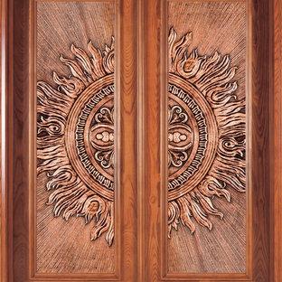 Inspiration pour une porte d'entrée minimaliste de taille moyenne avec une porte double.