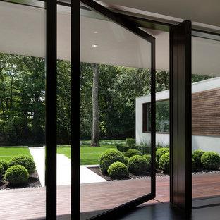 На фото: большая прихожая в стиле модернизм с белыми стенами, темным паркетным полом и стеклянной входной дверью с