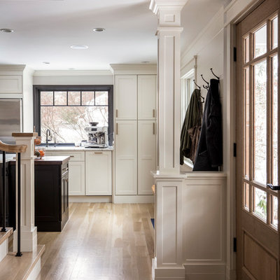 Example of a mid-sized transitional light wood floor entryway design in Boston with gray walls and a medium wood front door