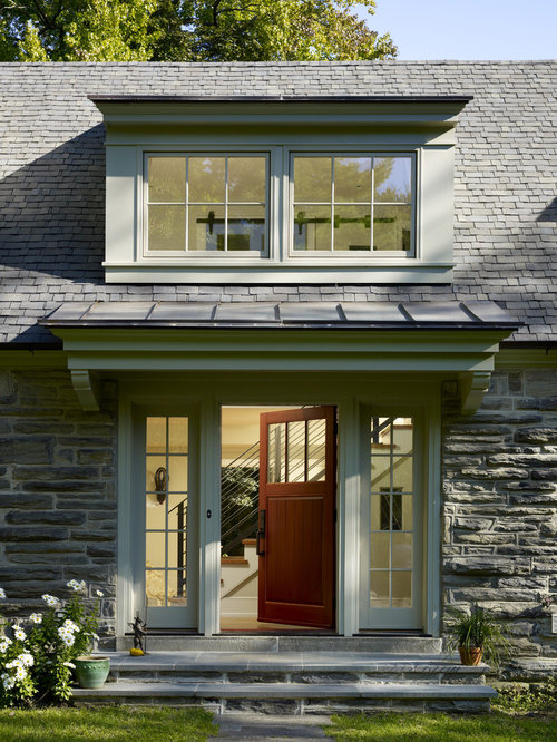 Inspiration For A Timeless Single Front Door Remodel In Philadelphia With A  Medium Wood Front Door