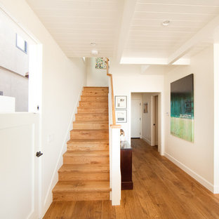 Foto de hall marinero, de tamaño medio, con puerta tipo holandesa, paredes blancas, suelo de madera clara, puerta blanca y suelo marrón
