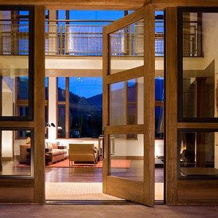 Esempio di un ingresso o corridoio minimal con una porta a pivot, una porta in vetro e parquet scuro