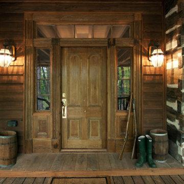 North Georgia log cabin, front door