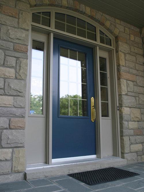 Tr s grande entr e avec une porte bleue photos et id es - Grande porte d entree ...