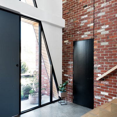 Mid-sized trendy concrete floor and gray floor entryway photo in Melbourne with a black front door and white walls
