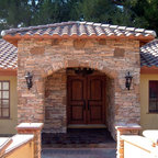 Custom Mediterranean Style Passage Gates With Iron Forged Scrolling Amp Wood Frame