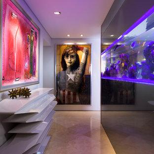 Ejemplo de hall contemporáneo con paredes blancas y puerta de madera en tonos medios