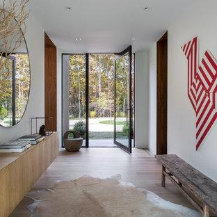 Exemple d'une entrée rétro avec un couloir, un mur blanc, un sol en bois clair, une porte pivot, une porte en verre et un sol beige.