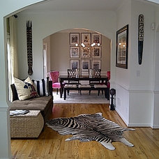 Eclectic Entry Open foyer and dining room