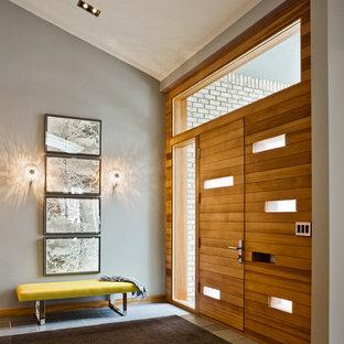 Immagine di un ingresso o corridoio minimalista con una porta in legno bruno e pareti grigie