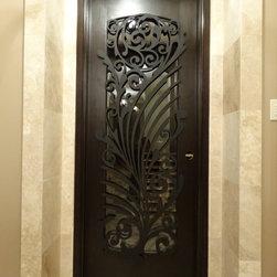 Ornamental Iron Screens for Doors - Ornamental Iron Metal interior Wine Seller  Door Screen