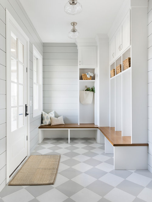 Superieur Large Coastal Ceramic Floor And Gray Floor Entryway Photo In Minneapolis  With Gray Walls And A