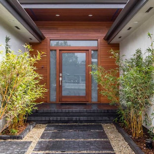 Example of a mid-sized minimalist entryway design in San Diego with a medium wood front door