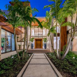Новый формат декора квартиры: входная дверь в современном стиле с одностворчатой входной дверью и входной дверью из дерева среднего тона