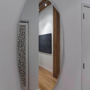 Großer Moderner Eingang mit Foyer, weißer Wandfarbe, Einzeltür, beigem Boden und Bambusparkett in San Francisco