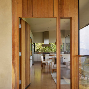 Esempio di una piccola porta d'ingresso moderna con pareti beige, pavimento in sughero, una porta singola e una porta in legno bruno