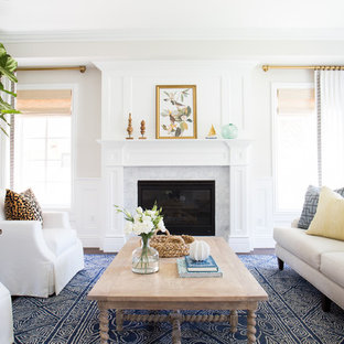 Design ideas for a transitional entryway in Los Angeles with white walls.
