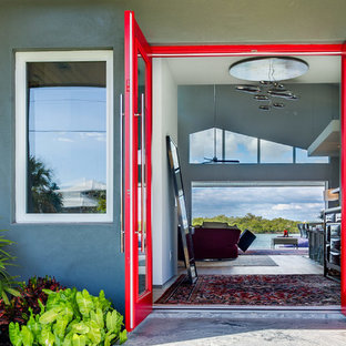 Inspiration for a large contemporary light wood floor entryway remodel in Other with gray walls and a red front door