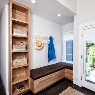 Стильный дизайн: тамбур среднего размера в стиле модернизм с серыми стенами, темным паркетным полом и коричневым полом - последний тренд
