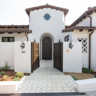 Inspiration for a mediterranean multicolored floor entryway remodel in Los Angeles with white walls and a dark wood front door