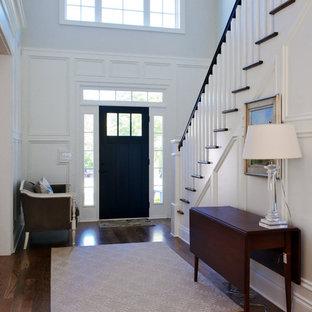 Источник вдохновения для домашнего уюта: фойе в классическом стиле с одностворчатой входной дверью, черной входной дверью, белыми стенами, темным паркетным полом, коричневым полом и правильным освещением