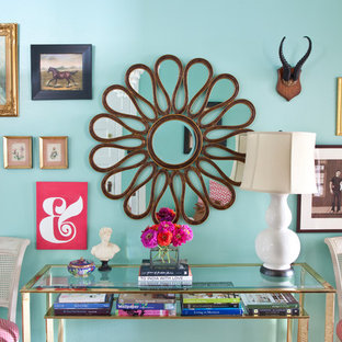 Example of an eclectic entryway design in Philadelphia with blue walls