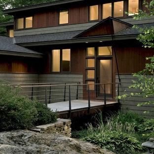 Entryway - contemporary entryway idea in Burlington with a glass front door