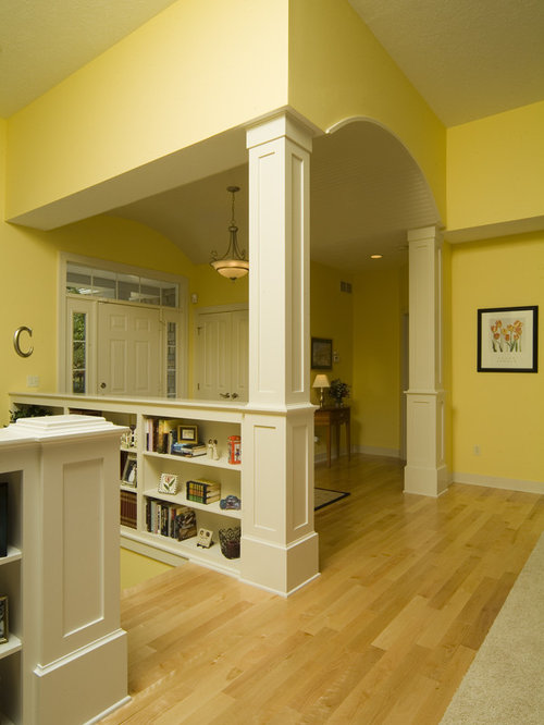 Shelves White Walls And Entry Ways: Half Wall Bookshelf Home Design Ideas, Pictures, Remodel And Decor