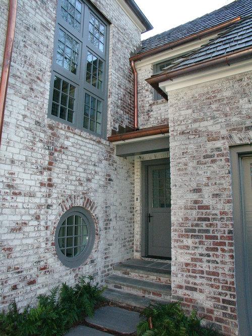 Lime wash brick entryway design ideas remodels photos - Lime wash paint exterior design ...