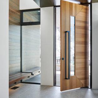 Imagen de puerta principal actual, grande, con paredes blancas, suelo de baldosas de porcelana, puerta pivotante, puerta de madera en tonos medios y suelo gris