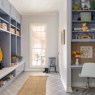 Mudroom - transitional multicolored floor mudroom idea in Houston with gray walls