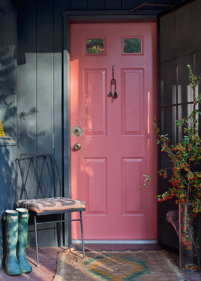 Shabby-chic Style Entry Pink Door