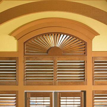 PLANTATION SHUTTERS - ARCH WINDOW SHUTTERS - Woodland Harvest Lafayette Interior