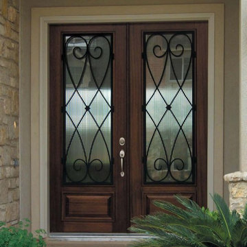 Prehung Double Door 96 FSC Wood Mahogany Charleston 3/4 Lite Wrought