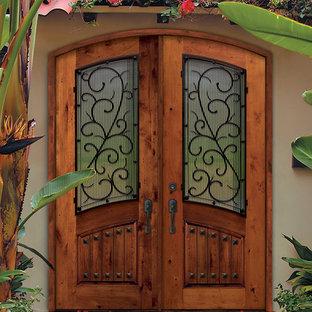Prehung Double Door 96 Solid Knotty Alder Bellagio Arch Top Arch Lite