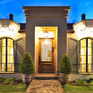 Single front door - traditional single front door idea in Austin