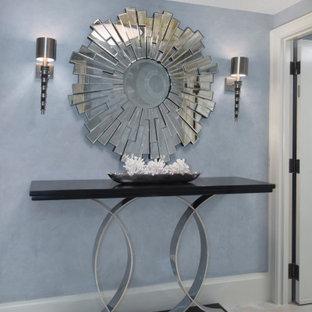 Cette image montre un petit hall d'entrée minimaliste avec un mur bleu, un sol en marbre, une porte double, une porte blanche et un plafond décaissé.