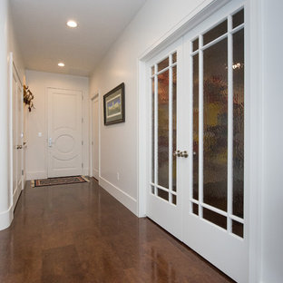 Entryway - contemporary cork floor and brown floor entryway idea in Other with white walls and a white front door