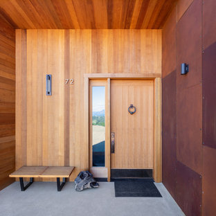 Inspiration for a mid-sized contemporary concrete floor and gray floor entryway remodel in Seattle with brown walls and a light wood front door