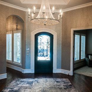 Mid-sized trendy dark wood floor and brown floor entryway photo in Dallas with metallic walls and a glass front door