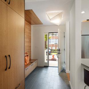 Ispirazione per un ingresso con anticamera minimal con pareti bianche, pavimento in ardesia e pavimento grigio