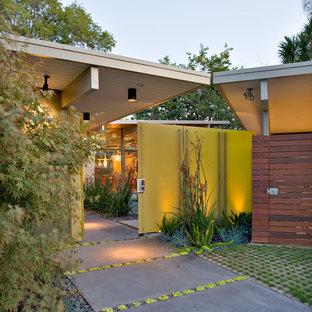 Foto di un ingresso o corridoio minimalista con una porta gialla